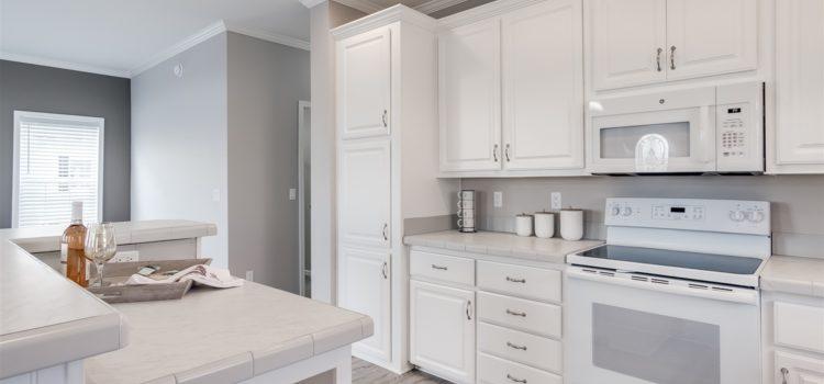 Tall kitchen cabinets offer plenty of storage