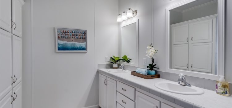 Ample storage in master bath