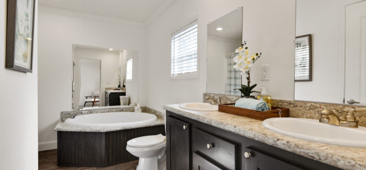 Master bath with dual vanities, soaking tub, shower, and walk-in closet