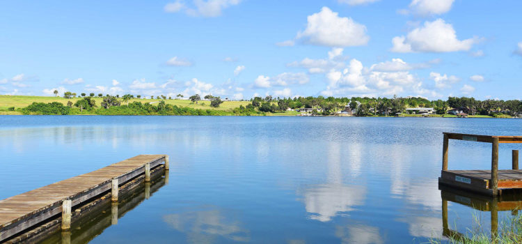 Enjoy scenic vistas of Lake Clay